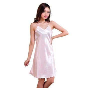 DCCKFV3 New Arrival Sexy Lingerie Women Girl Silk Robe Dress Babydoll Nightdress Nightgown Sleepwear