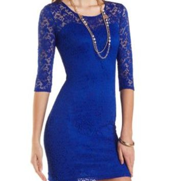 All-Over Lace Bodycon Dress by Charlotte Russe - Bright Cobalt