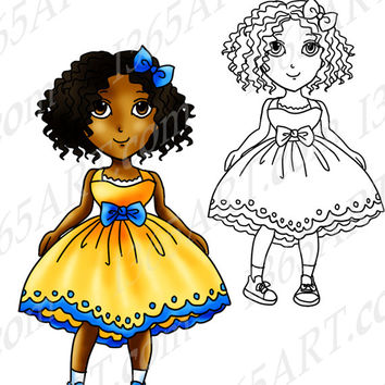 Digital Stamp, Coloring Page Line Art Illustration For Children and Clipart, Cute Girl in Summer Dress Anime Chibi 8 x 10 Download
