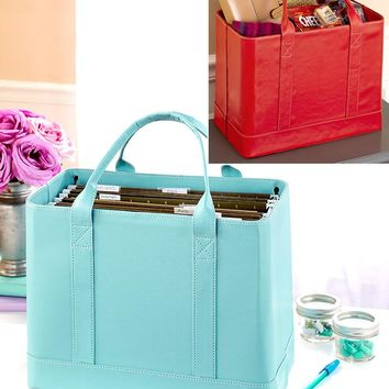 Stylish Chic Portable Mobile Home Office Business File Hanging Filing Organizer Tote Bag