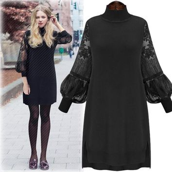 Plus Size Lace Patchwork Long Sleeve One Piece Dress [37752143898]