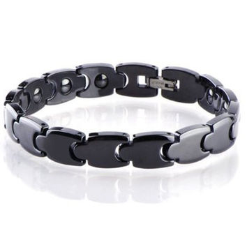 KATGI Premium Craft Tungsten Ceramic Brazil Hematite Magnetic Therapy Bracelet (Men, Black)