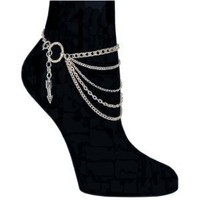 5 Row Chain Anklet Medium in Silver Tone