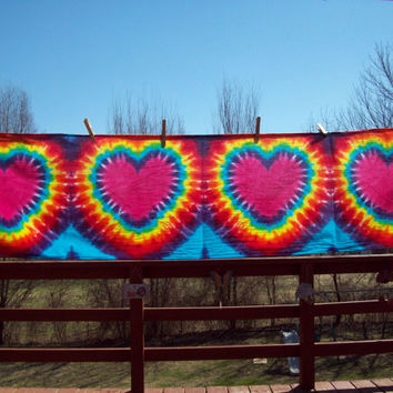 Heart Tie Dye Tapestry, wall hanging, long scarves, tie dye wall poster
