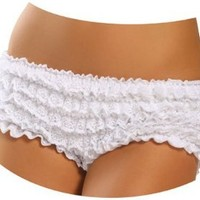 Sexy White Ruffle Boy Shorts Panties - One Size: Clothing