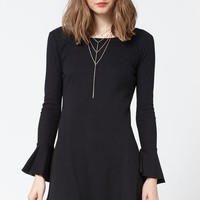 Lira Fly Away Thermal Bell Sleeve Dress - Womens Dress - Black