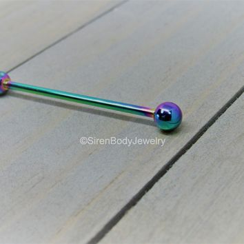"Rainbow industrial piercing barbell 14g 1 1/4"" externally threaded 4mm ball ends"