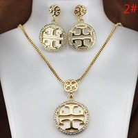 Tory Burch New fashion diamond earring and necklace two piece suit women