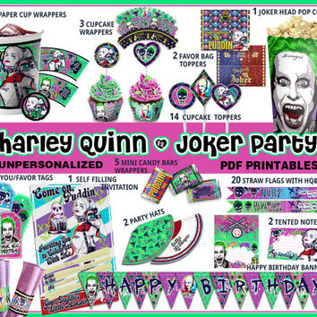 Harley Quinn Joker party printables, Suicide Squad party, box, candy wrapper, invitation, birthday, quotes, labels, Little Monster,paper PDF