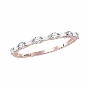 10k Rose Gold Women's Round Baguette Diamond Stackable Ring - FREE Shipping (US/CA)