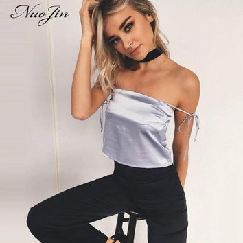 NuoJin Lace Up Crop Top Women Off Shoulder Satin top Camis Black Slim Clubwear Summer Beach Tank Top Mujers Camisole
