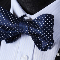 E808 BLUE, WHITE DOT Cotton Blend Men Gravata Classic Wedding Bow Tie, Butterfly
