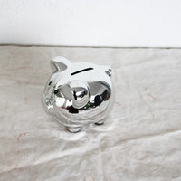Vintage silver piggy bank, metal silver tone coin bank, vintage money bank, chubby silver piggy bank, late eighties