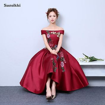 Suosikki 2017 new arrive party prom dress Vestido de Festa boat neck A-line satin lace-up back appliques evening party dress