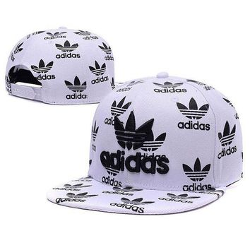 DCCK2JE Embroidered Adidas Snapback Adjustable Flat Cap White Black: One Size Fits Most