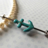 Industrial Barbell With Turquoise Anchor Body Jewelry Ear Jewelry Double Piercing