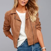 Jack by BB Dakota Johanness Tan Suede Moto Jacket