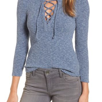 Lucky Brand Lace Up Ribbed Top | Nordstrom