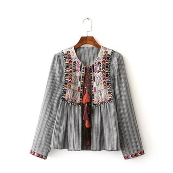 Lady Kimono Fringe Jacket Long Sleeve  Embroidery Striped Jacket With Tassels O Neck Summer Autumn Fringe Kimono Jacket Women