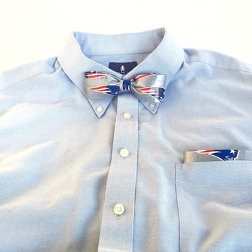 Gray Clip-On Bow Tie Set For Men, Cool NFL New England Patriots Bowtie
