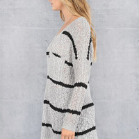 Striped Oversize Sweater, Grey