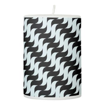 Black and Light Blue Waves Pattern Pillar Candle