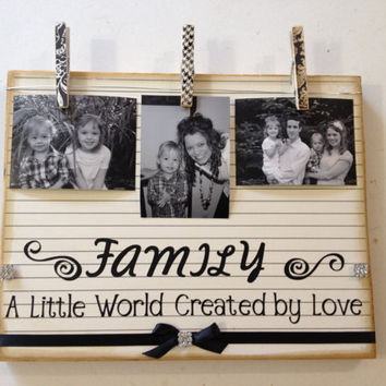 Wedding/Home Decor for the home or for wedding- Family A little world created by love wooden board vintage style personalized with pictures