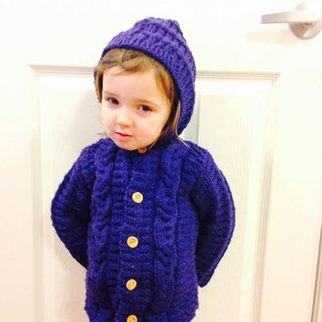 Sale Child Cable Sweater/Hood/Sizes 12-18,2-4,5- 6 /100% Wool With Wooden Buttons/Knit/Blue/Green/ Brown /Navy/ Purple/ Mustard Yellow/Grey