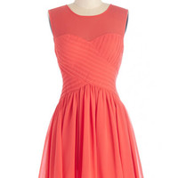 Sleeveless A-line Flair Game Dress in Coral