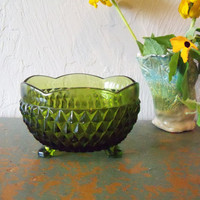 Footed Cut Glass Bowl or Candy Dish by TheTravelingOwlShop