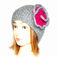 Beanie hat with flower knitted medium gray and pink 100% wool grey beanies with flowers for women adults teenagers Irish chunky knit hats
