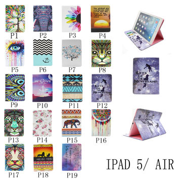 For Apple iPad Air Painting Print Flip PU Leather Case Tablet Cover with Wallet Card Holder