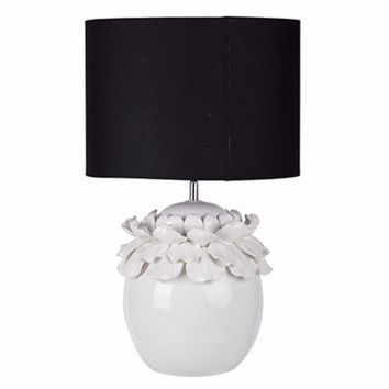 Gorgeous White Ceramic Table Lamp With Black Shade