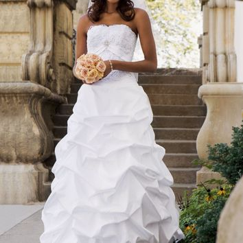 Taffeta Pick-up with Beaded Metallic Lace Bodice - David's Bridal - mobile