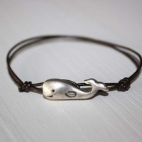 Whale Leather Bracelet - Antique Silver - Genuine Brown Leather Cord - 14 Colors Available