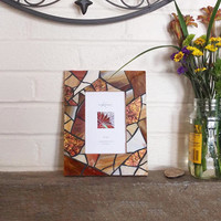 4x6 Photo Amber Frame, Stained Glass Mosaic Picture Frame, Handmade Earthy Brown Picture Frame, Rustic Wall Decor