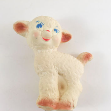 Vintage Lamb Squeaker Kitschy Lamb Squeaker Rubber Plastic Retro Lamb Squeaky Toy Easter Decor Nursery Decor Lamb Toy