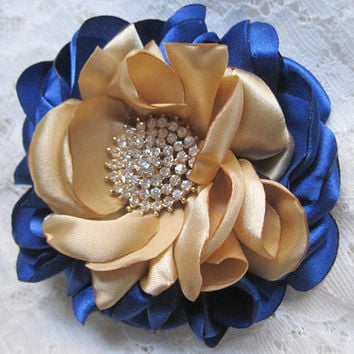 Hair Clip Royal Blue and Gold Satin Flower Wedding Bride Bridesmaid Mother of the Bride Prom with Rhinestone Accent Choose Clip or Brooch