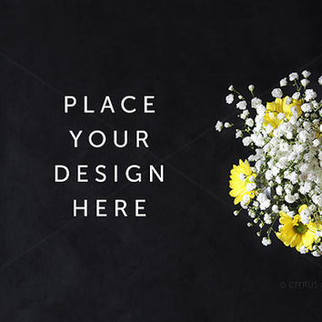 Styled Stock Photography - Product Presentation - Design Mock Up -  Rustic style flower bouquet on a Clean Chalkboard Desktop Background