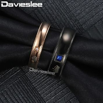 Davieslee Coupless Ring Stainless Steel Engraved Queen King Paved Blue Clear CZ Black Rose Wedding Band Rings for Women DKRM39