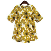 Off White Yellow Floral Print Short Sleeve Pleated Shirt Dress