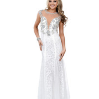Ivory Lace Crystal Beaded Illusion Cap Sleeve Fitted Mermaid Gown 2015 Prom Dresses