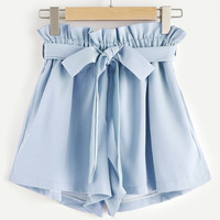 Frill Waist Self Tie Shorts -SheIn(Sheinside)