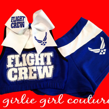 "Custom Rhinestone & Glitter ""Flight Crew"" Cheer Set - Sports Bra, Shorts and Bow"