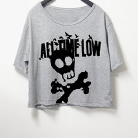All time low , crop top, grey color, women crop shirt, screenprint tshirt, graphic tee