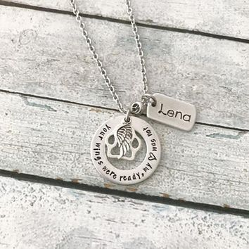 Hand stamped pet memorial necklace