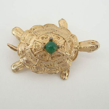 3-D Embossed Turtle Pin Green Cabochon Vintage Figural Jewelry