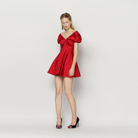 Casual Red V-Neck Off Shoulder Mini Dress