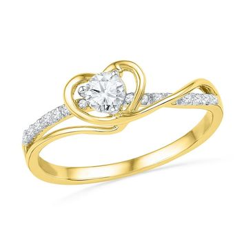 10kt Yellow Gold Womens Round Diamond Heart Love Promise Bridal Ring 1/4 Cttw