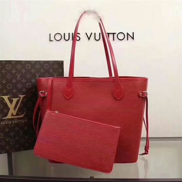 Kuyou Lv Louis Vuitton Gb29714 40882 Red New Wave Epi Leather Neverfull Medium Handbag 32x29x17cm